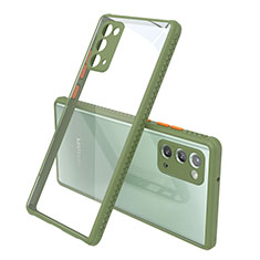 Silicone Transparent Mirror Frame Case Cover N02 for Samsung Galaxy Note 20 5G Army green
