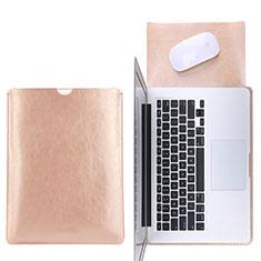 Sleeve Velvet Bag Leather Case Pocket L17 for Apple MacBook Pro 15 inch Gold