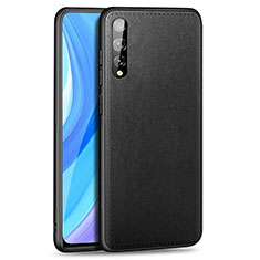 Soft Luxury Leather Snap On Case Cover for Huawei Enjoy 10S Black