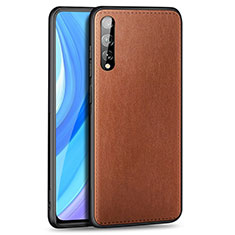 Soft Luxury Leather Snap On Case Cover for Huawei Enjoy 10S Brown