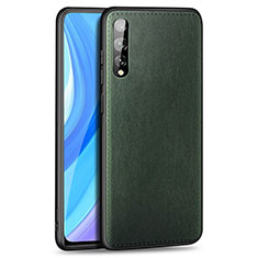 Soft Luxury Leather Snap On Case Cover for Huawei Enjoy 10S Green