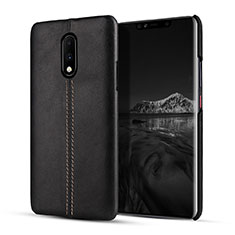 Soft Luxury Leather Snap On Case Cover for OnePlus 7 Black