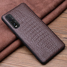 Soft Luxury Leather Snap On Case Cover for Oppo Find X2 Brown