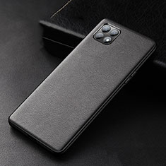 Soft Luxury Leather Snap On Case Cover for Oppo Reno4 SE 5G Black