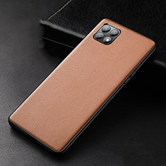 Soft Luxury Leather Snap On Case Cover for Oppo Reno4 SE 5G Brown