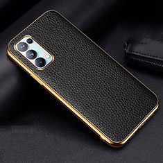 Soft Luxury Leather Snap On Case Cover for Oppo Reno5 Pro 5G Black
