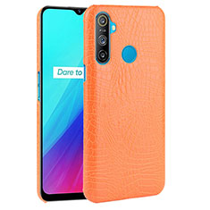Soft Luxury Leather Snap On Case Cover for Realme C3 Orange