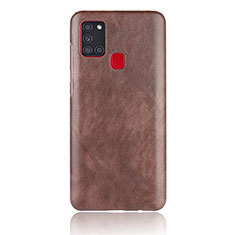 Soft Luxury Leather Snap On Case Cover for Samsung Galaxy A21s Brown