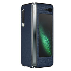 Soft Luxury Leather Snap On Case Cover for Samsung Galaxy Fold Blue
