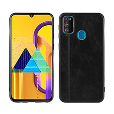 Soft Luxury Leather Snap On Case Cover for Samsung Galaxy M21 Black