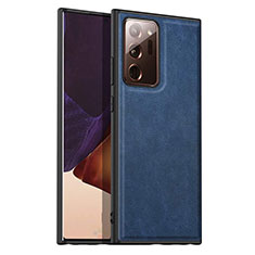 Soft Luxury Leather Snap On Case Cover for Samsung Galaxy Note 20 Ultra 5G Blue