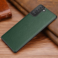 Soft Luxury Leather Snap On Case Cover for Samsung Galaxy S21 Plus 5G Midnight Green
