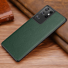Soft Luxury Leather Snap On Case Cover for Samsung Galaxy S21 Ultra 5G Midnight Green