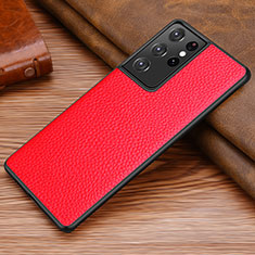Soft Luxury Leather Snap On Case Cover for Samsung Galaxy S21 Ultra 5G Red