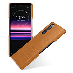 Soft Luxury Leather Snap On Case Cover for Sony Xperia 5 Brown