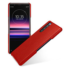 Soft Luxury Leather Snap On Case Cover for Sony Xperia 5 Red