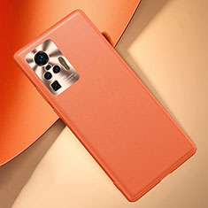 Soft Luxury Leather Snap On Case Cover for Vivo X50 Pro 5G Orange