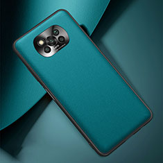 Soft Luxury Leather Snap On Case Cover for Xiaomi Poco X3 NFC Cyan