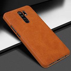 Soft Luxury Leather Snap On Case Cover for Xiaomi Redmi 9 Prime India Orange