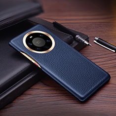 Soft Luxury Leather Snap On Case Cover L01 for Huawei Mate 40 Pro+ Plus Blue