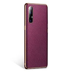 Soft Luxury Leather Snap On Case Cover L02 for Oppo Find X2 Neo Purple