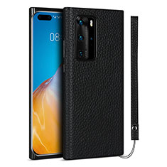 Soft Luxury Leather Snap On Case Cover N02 for Huawei P40 Pro Black