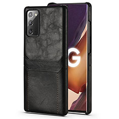 Soft Luxury Leather Snap On Case Cover N02 for Samsung Galaxy Note 20 5G Black