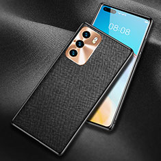 Soft Luxury Leather Snap On Case Cover N03 for Huawei P40 Black