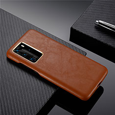 Soft Luxury Leather Snap On Case Cover N05 for Huawei P40 Pro Brown