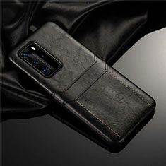 Soft Luxury Leather Snap On Case Cover N06 for Huawei P40 Pro Black