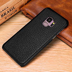 Soft Luxury Leather Snap On Case Cover P01 for Samsung Galaxy S9 Black