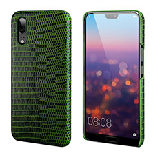 Soft Luxury Leather Snap On Case Cover P03 for Huawei P20 Green