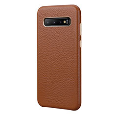 Soft Luxury Leather Snap On Case Cover P03 for Samsung Galaxy S10 Plus Brown