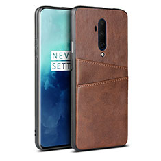 Soft Luxury Leather Snap On Case Cover R01 for OnePlus 7T Pro Brown