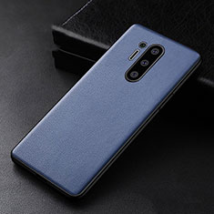 Soft Luxury Leather Snap On Case Cover R01 for OnePlus 8 Pro Blue