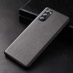 Soft Luxury Leather Snap On Case Cover R01 for Oppo Reno4 5G Black