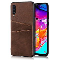 Soft Luxury Leather Snap On Case Cover R01 for Samsung Galaxy A70 Brown