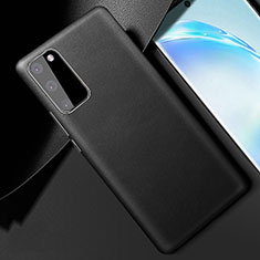 Soft Luxury Leather Snap On Case Cover R01 for Samsung Galaxy S20 Black