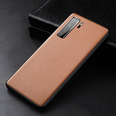 Soft Luxury Leather Snap On Case Cover R02 for Huawei Nova 7 SE 5G Brown