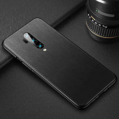 Soft Luxury Leather Snap On Case Cover R02 for OnePlus 7T Pro Black