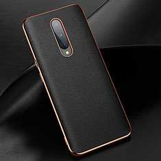 Soft Luxury Leather Snap On Case Cover R02 for OnePlus 8 Black