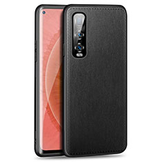 Soft Luxury Leather Snap On Case Cover R02 for Oppo Find X2 Pro Black