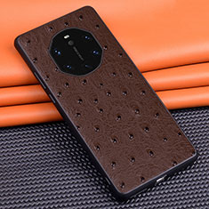 Soft Luxury Leather Snap On Case Cover R03 for Huawei Mate 40 RS Brown