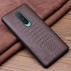 Soft Luxury Leather Snap On Case Cover R03 for OnePlus 8 Brown