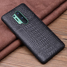 Soft Luxury Leather Snap On Case Cover R03 for OnePlus 8 Pro Black