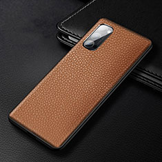Soft Luxury Leather Snap On Case Cover R03 for Oppo Reno4 Pro 5G Brown