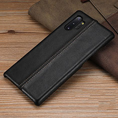 Soft Luxury Leather Snap On Case Cover R03 for Samsung Galaxy Note 10 Plus 5G Black