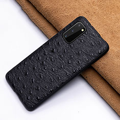 Soft Luxury Leather Snap On Case Cover R03 for Samsung Galaxy S20 Black