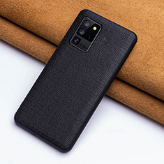 Soft Luxury Leather Snap On Case Cover R03 for Samsung Galaxy S20 Ultra 5G Black