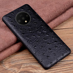 Soft Luxury Leather Snap On Case Cover R04 for OnePlus 7T Black
